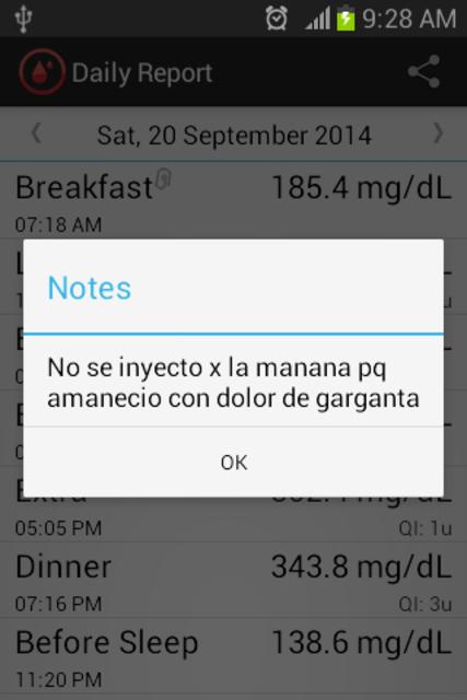 Glucemia Register screenshot 3