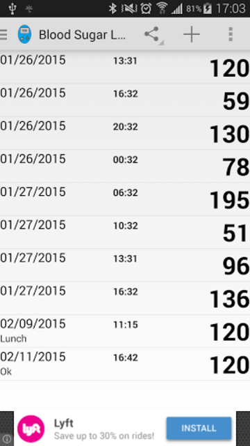 Blood Sugar Log screenshot 1