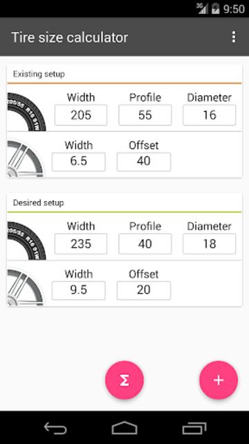 Tire Size Calculator screenshot 1
