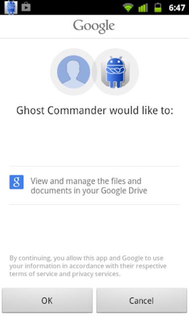 GhostCommander plugin: GDrive screenshot 1