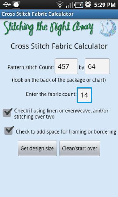 XStitch Fabric Calculator Pro screenshot 1