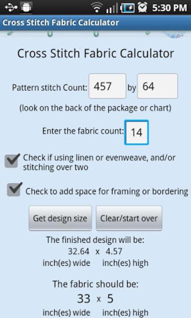 XStitch Fabric Calculator Pro screenshot 2
