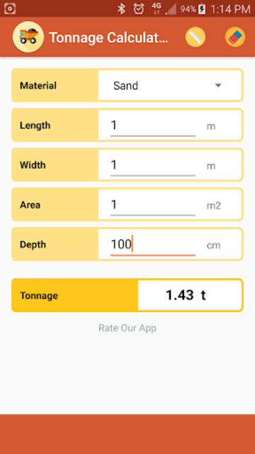 Tonnage Calculator screenshot 1