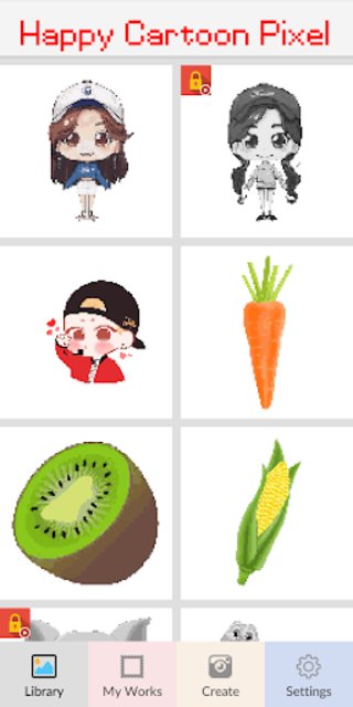 Happy Cartoon Pixel Book - Pixel Art Coloring screenshot 2