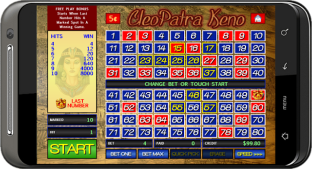 Cleopatra Keno screenshot 2