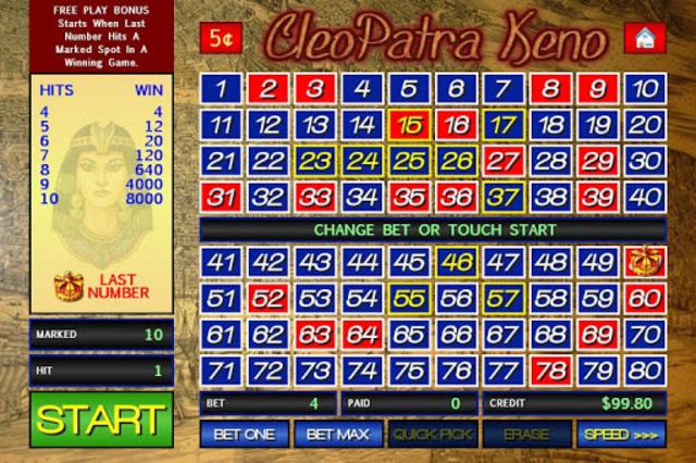 Cleopatra Keno screenshot 8