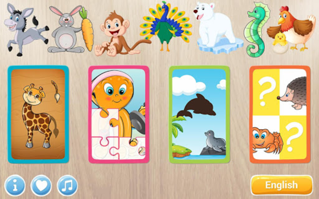 Animals Puzzle for Kids 🦁🐰🐬🐮🐶🐵 screenshot 23