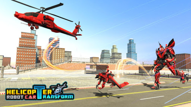 Police Helicopter Robot Car Transform Robot Games screenshot 4