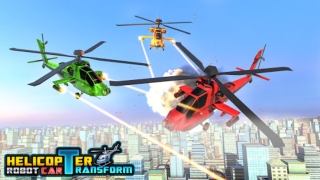 Police Helicopter Robot Car Transform Robot Games screenshot 5
