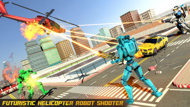 Police Helicopter Robot Car Transform Robot Games screenshot 8