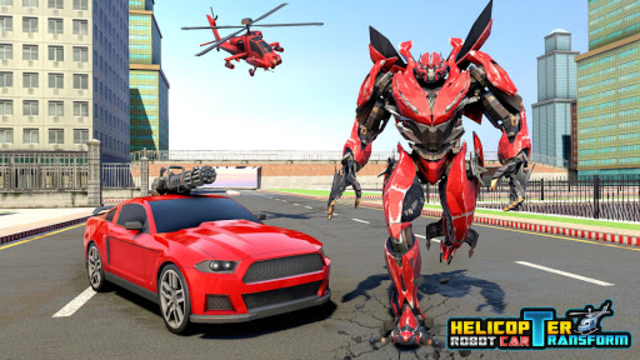 Police Helicopter Robot Car Transform Robot Games screenshot 10