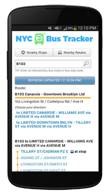 NYC Mta Bus Tracker screenshot 2
