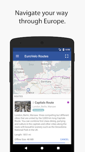 EuroCycle - Offline Maps for EuroVelo Cycle Routes screenshot 1