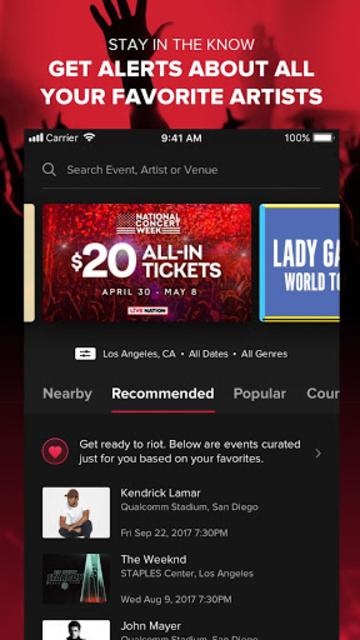 Live Nation At The Concert screenshot 1