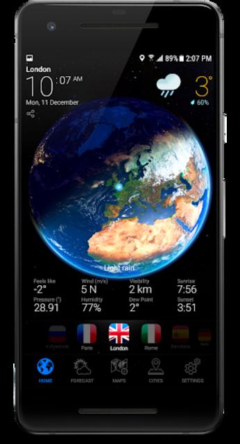 3D EARTH - accurate weather forecast & rain radar screenshot 1