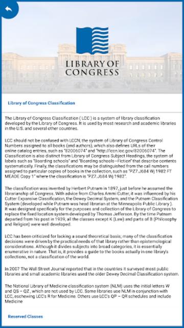 LC Classification screenshot 4