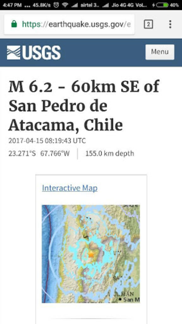 USGS Earthquake Tracker screenshot 2