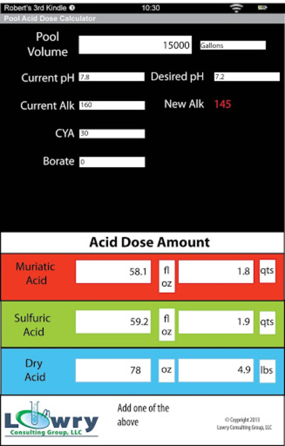 Pool Acid Dose Calculator screenshot 3