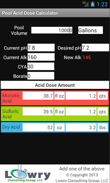 Pool Acid Dose Calculator screenshot 1