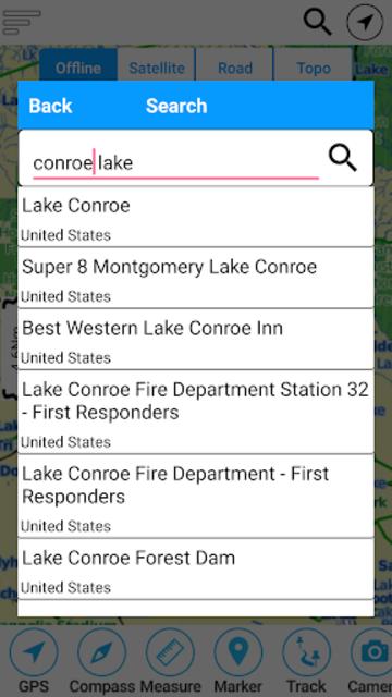 Lake Conroe Offline GPS Charts screenshot 2