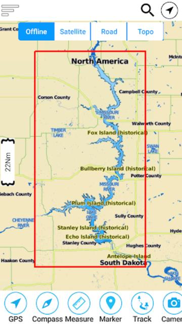 Lake Oahe - South & North Dakota Offline GPS Chart screenshot 7