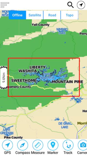 Lake Ouachita - Arkansas Offline Fishing Charts screenshot 8