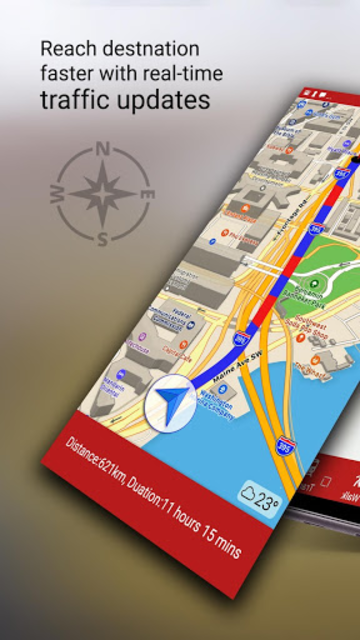 Free-GPS, Maps, Navigation, Directions and Traffic screenshot 1