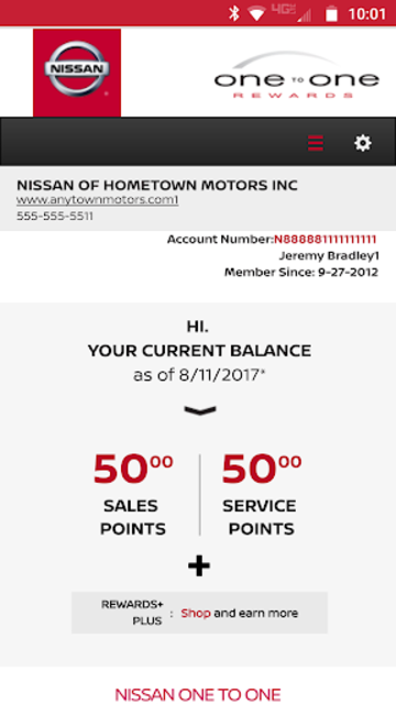 Nissan One To One Rewards screenshot 1