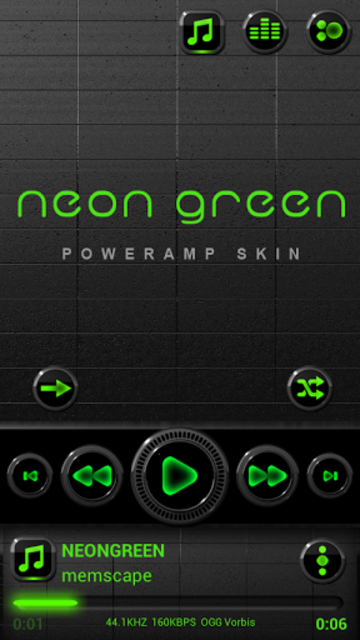 NEON GREEN Poweramp skin screenshot 1