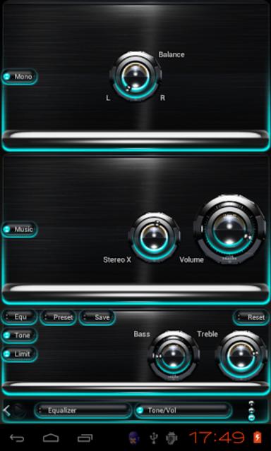 Poweramp skin Turquoise Glow screenshot 3