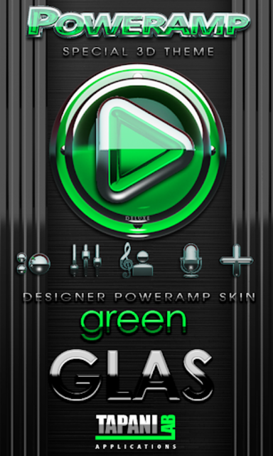 Poweramp skin Green Glas delux screenshot 1