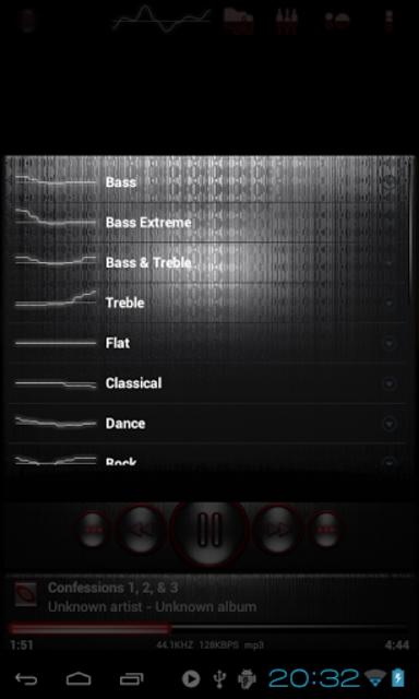 Poweramp skin STEEL OF I. RED screenshot 5