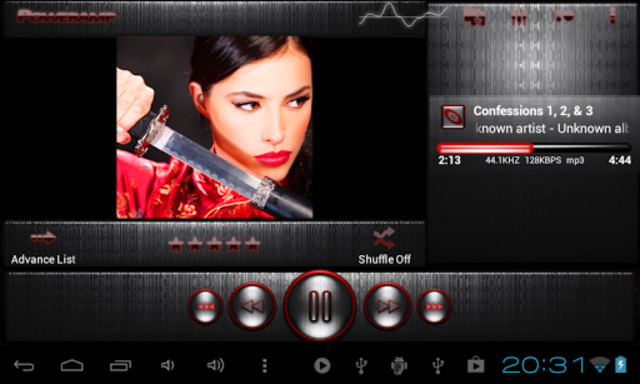 Poweramp skin STEEL OF I. RED screenshot 6