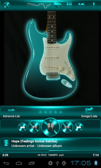 Poweramp SKIN TURQUOISE METAL screenshot 1