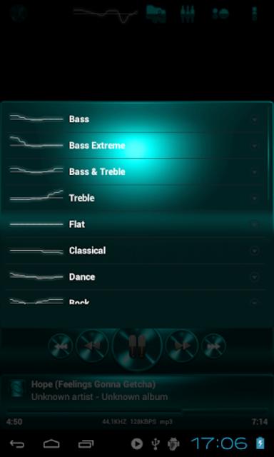 Poweramp SKIN TURQUOISE METAL screenshot 4