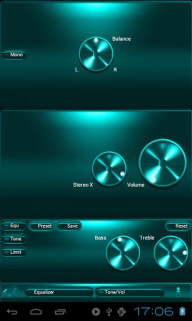 Poweramp SKIN TURQUOISE METAL screenshot 3