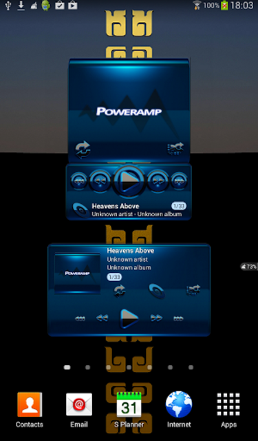 Poweramp widget BLACK BLUE screenshot 1