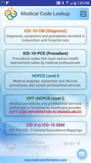 Medical Code Lookup screenshot 1