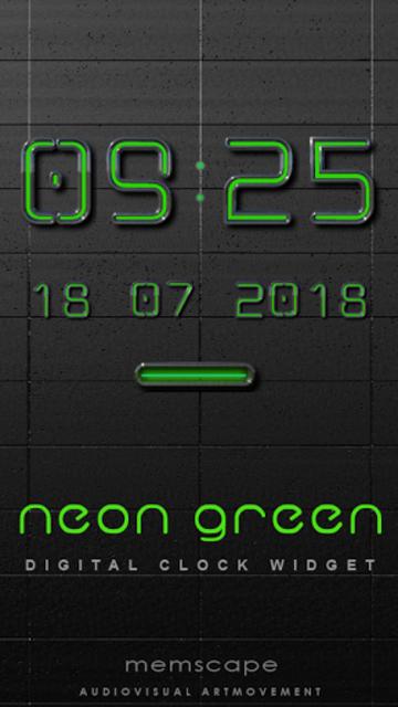 NEON GREEN Digi Clock Widget screenshot 1