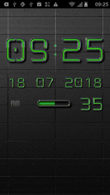 NEON GREEN Digi Clock Widget screenshot 2