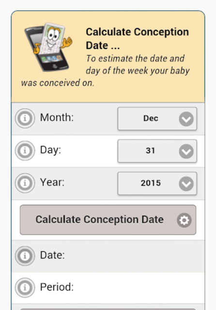 Conception Date Calculator screenshot 1