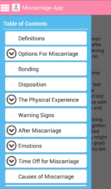 The Miscarriage App screenshot 1