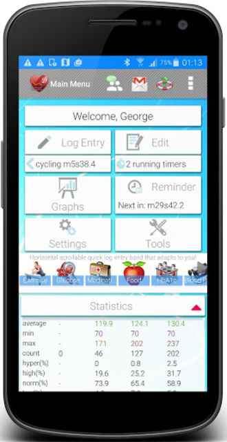 Diabetes, Blood Pressure, Health Tracker App screenshot 1