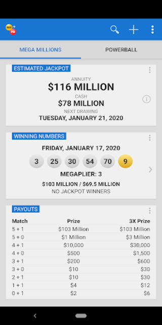 Mega Millions + Powerball Lotto Games in US screenshot 2