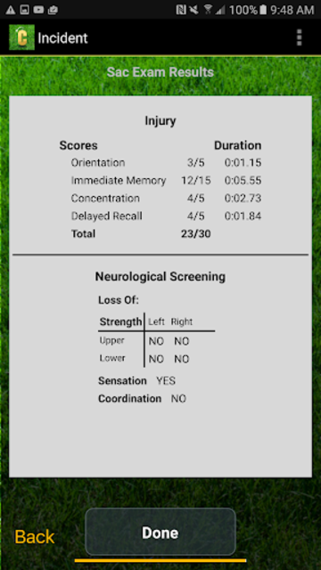 Concussion Assessment&Response screenshot 5