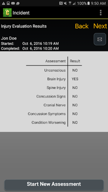 Concussion Assessment&Response screenshot 6