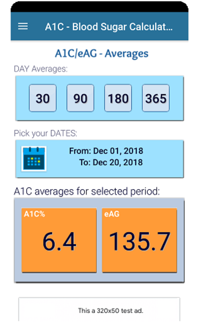 A1C Blood Sugar Calculator Tracker Diabetes app screenshot 3