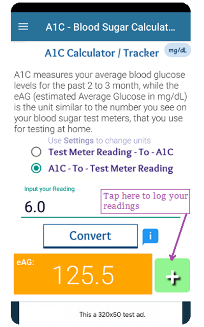 A1C Blood Sugar Calculator Tracker Diabetes app screenshot 1