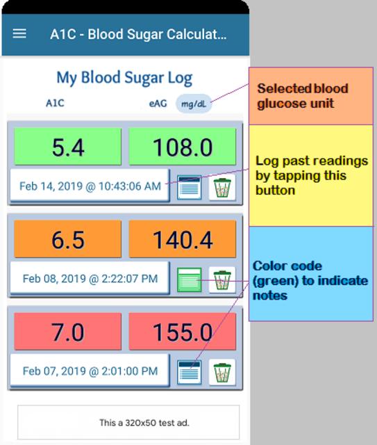 A1C Blood Sugar Calculator Tracker Diabetes app screenshot 2