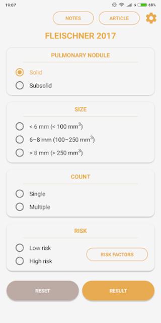 Pulmonary Nodules - Fleishner 2017 Calculator screenshot 1